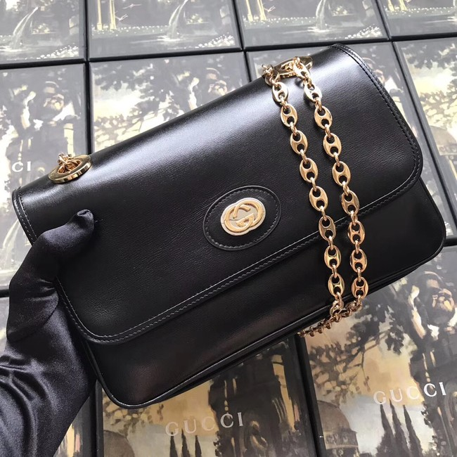 Gucci GG Original Leather Shoulder Bag 576421 Black