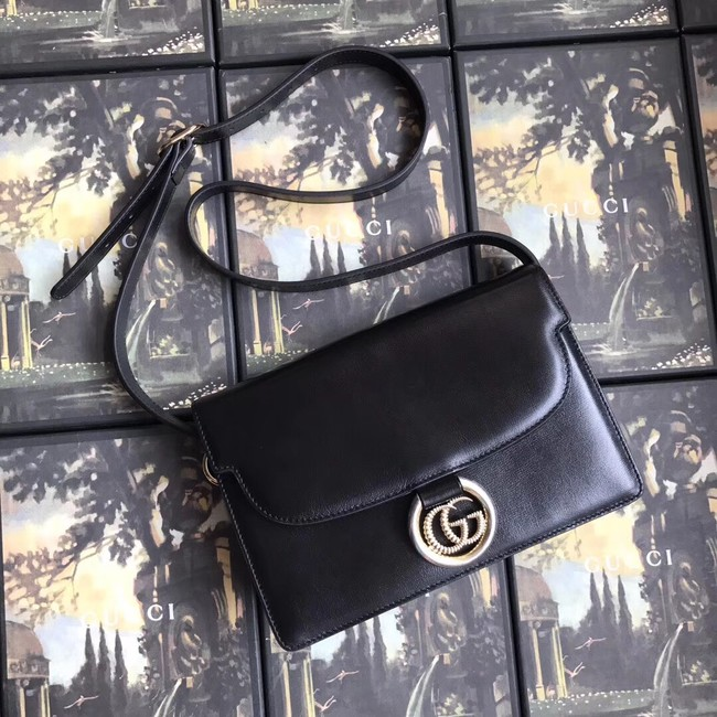 Gucci GG Original Leather Shoulder Bag 589474 Black