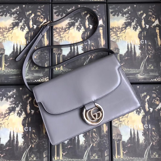 Gucci GG Original Leather Shoulder Bag 589474 Grey