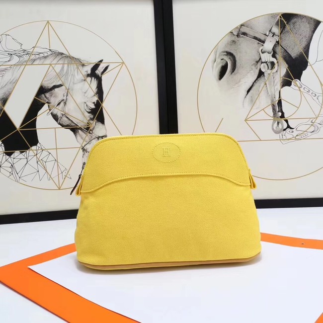 Hermes Cosmetic Bag H3699 Lemon Yellow