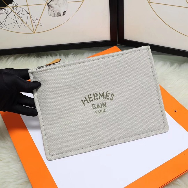 Hermes Cosmetic Bag H3700 Light Grey