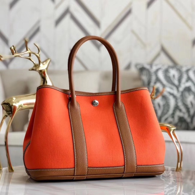 Hermes Garden Party 36cm Tote Bags Original Leather A3698 Orange