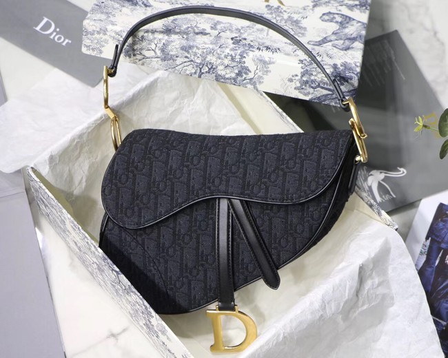 Dior SADDLE DENIM CANVAS BAG M928 denim black