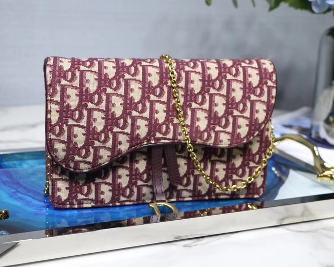 Dior SADDLE DENIM CANVAS BAG S5614 burgundy