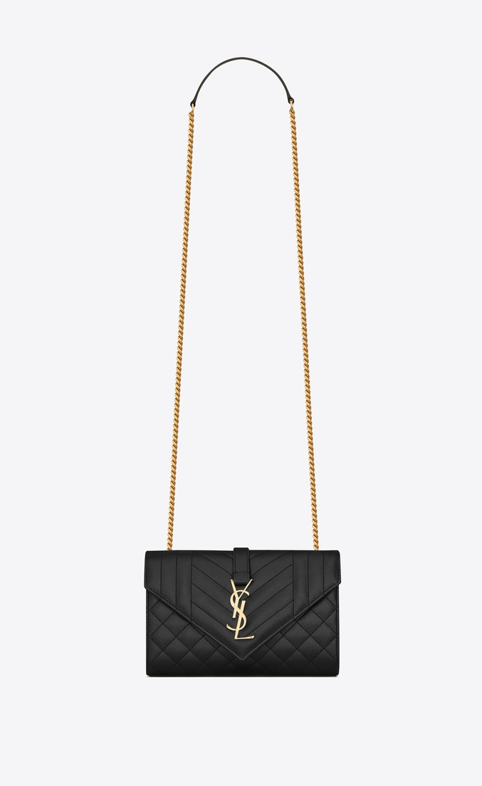 YSL ENVELOPE SMALL IN MIX MATELASSEGRAIN DE POUDRE EMBOSSED LEATHER 19207 BLACK