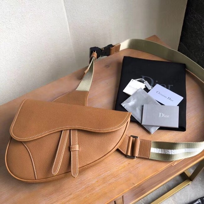 DIOR OBLIQUE SADDLE BELT BAG M9020 brown