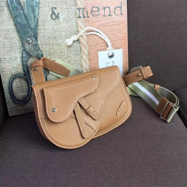 DIOR OBLIQUE SADDLE BELT BAG M9021 brown