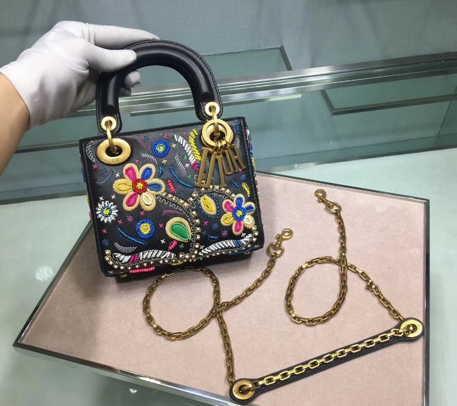 LADY DIOR embroidered cattle leather M05054