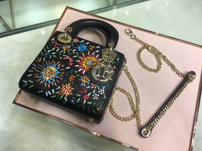 LADY DIOR embroidered cattle leather M05055