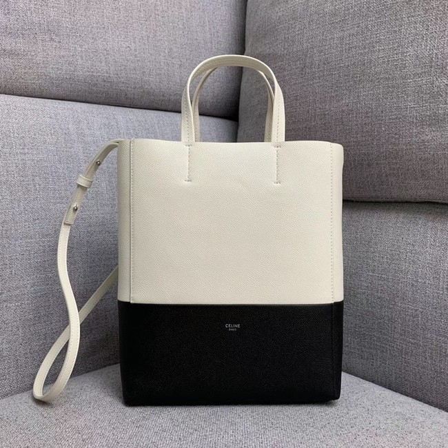 Celine Original Leather CABAS Bag 189813 White&Black