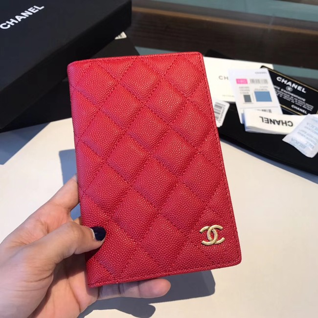 Chanel Calfskin Leather & Gold-Tone Metal Wallet A80385 Red