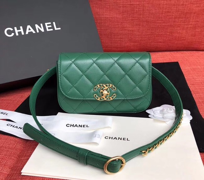Chanel Original Sheepskin Leather Belt Bag Green 33866 Gold
