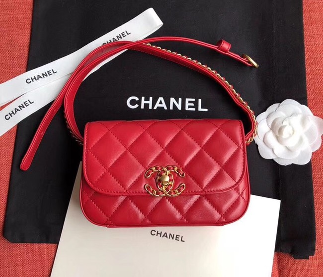 Chanel Original Sheepskin Leather Belt Bag Red 33866 Gold
