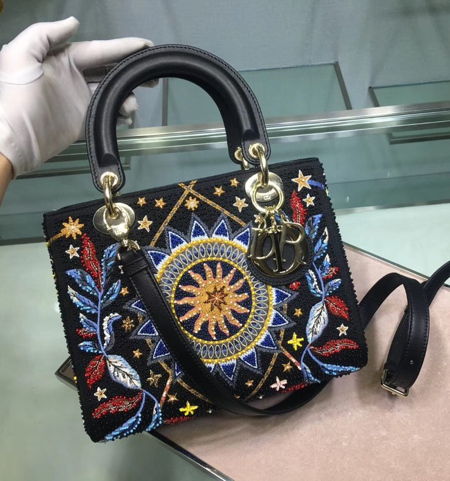 LADY DIOR embroidered cattle leather M05651