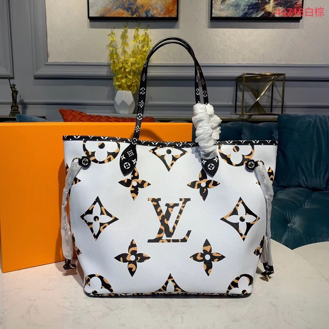 Louis Vuitton Monogram Canvas Original Leather NEVERFULL MM M44567 White