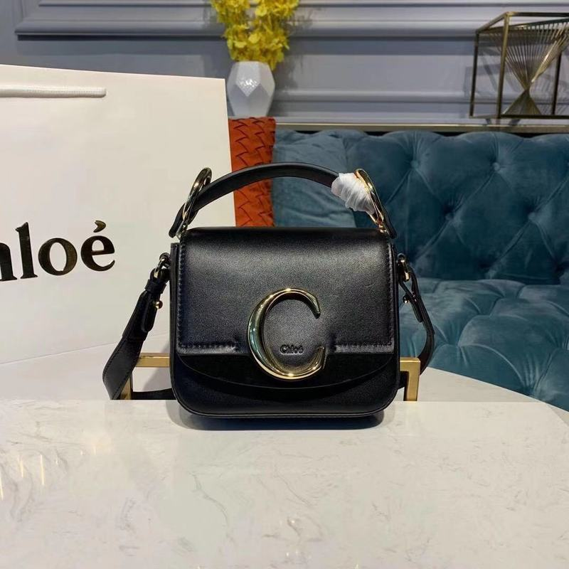 Chloe Original Calfskin Leather Top Handle Small Bag 3S030 Black