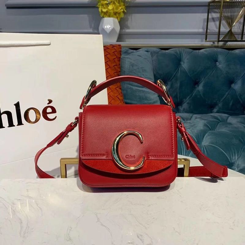 Chloe Original Calfskin Leather Top Handle Small Bag 3S030 Red
