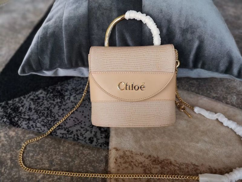 Chloe Small Aby Lock Chain Bag in Embossed Lizard Effect on Calfskin & Goatskin 3S035 Apricot