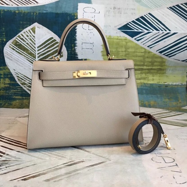 Hermes original Kelly Epsom Leather KL32 Beige
