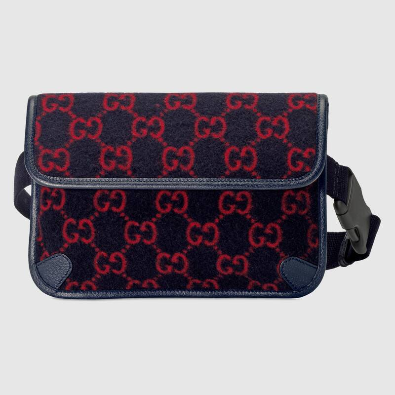 Gucci GG wool waist bag 598181 dark blue