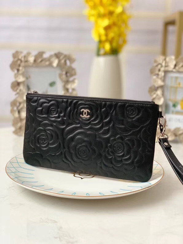 Chanel Lambskin Clutch Bag & silver-Tone Metal A009 black