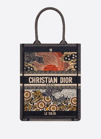 SUN VERTICAL DIOR BOOK TOTE TAROT EMBROIDERED CANVAS BAG M1272Z-1