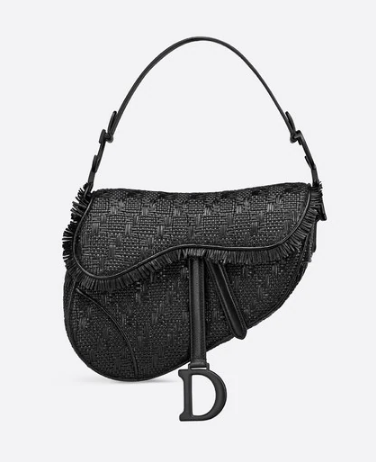 Dior SADDLE BRAIDED LEATHER STRIPS WITH FRINGE BAG M900 black