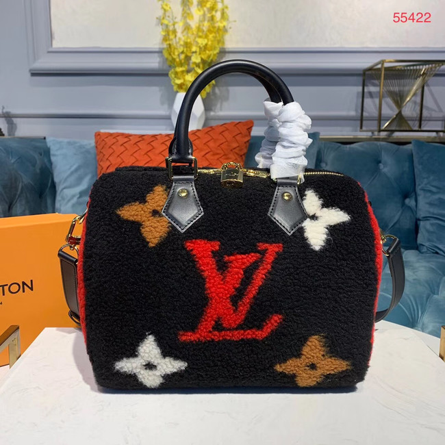Louis vuitton original SPEEDY 25 wool M55423 black&red