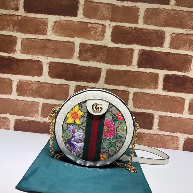 Gucci Ophidia series GG flower round Mini Shoulder Bag 550618 white