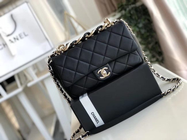 Chanel Lambskin Flap Bag &gold-Tone Metal AS1353 black
