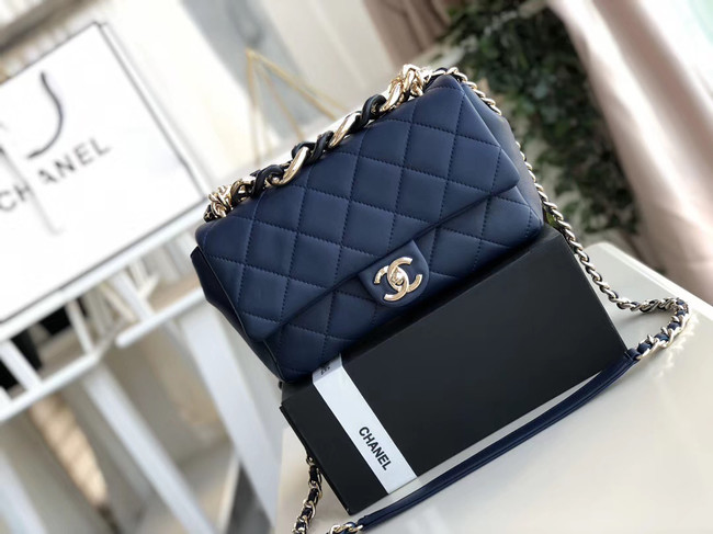 Chanel Lambskin Flap Bag &gold-Tone Metal AS1353 blue