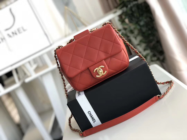 Chanel small flap bag Lambskin & Gold Metal AS1357 red