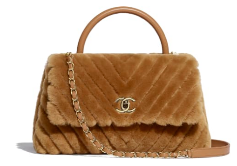 Chanel flap bag with top handle A92991 Camel