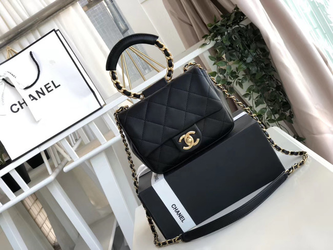 Chanel small flap bag Lambskin & Gold Metal AS1357 Black