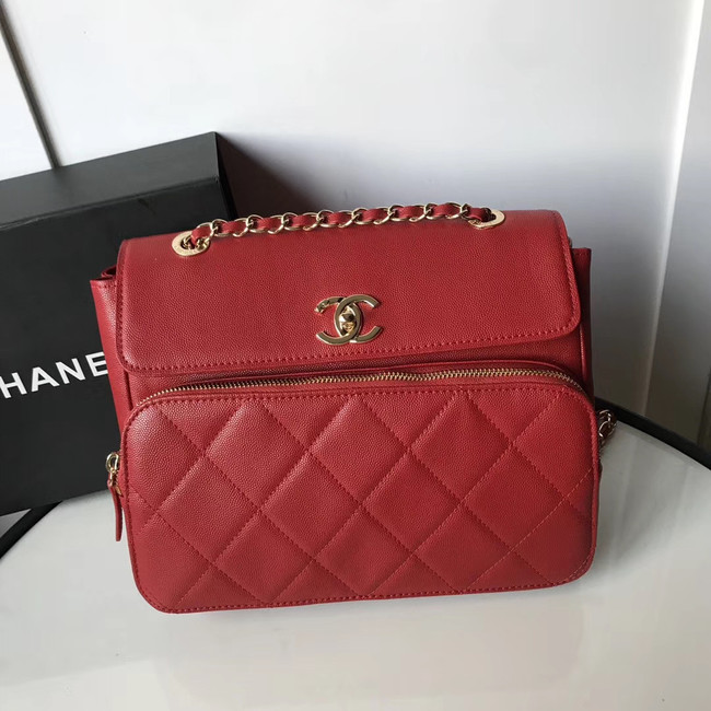 Chanel flap bag Grained Calfskin & Gold-Tone Metal AS1199 red