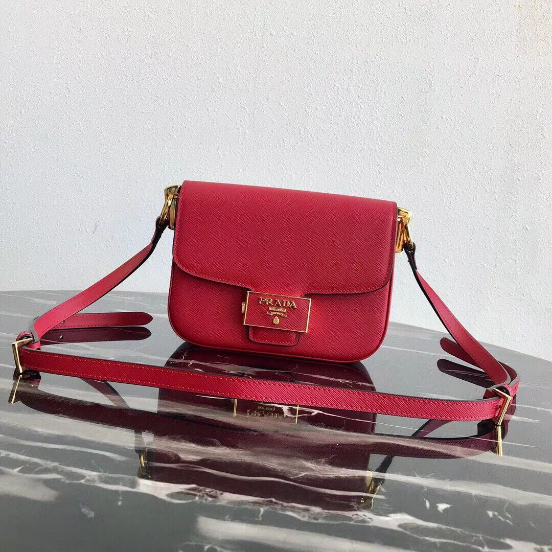 Prada Embleme Saffiano leather bag 1BD217 red