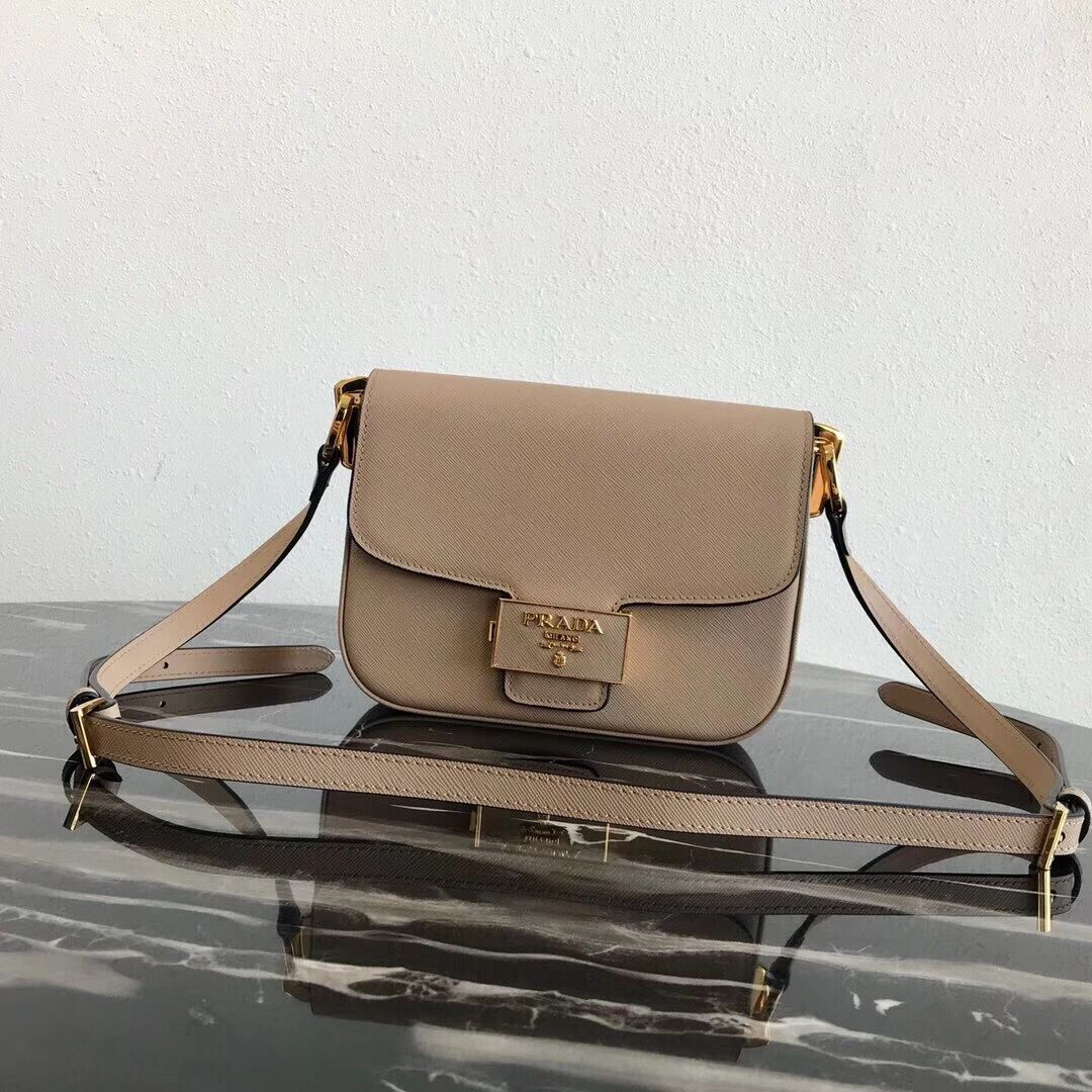 Prada Embleme Saffiano leather bag 1BD217 apricot