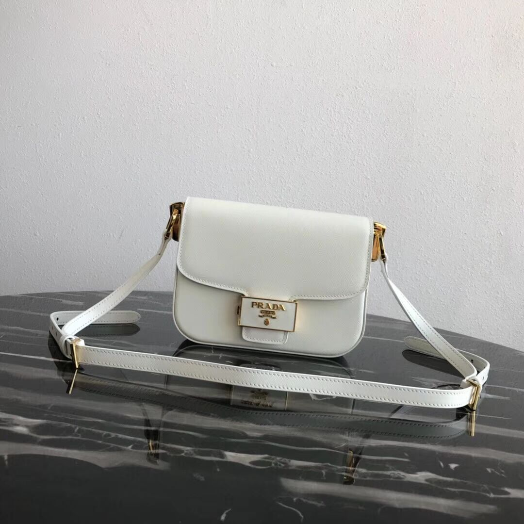 Prada Embleme Saffiano leather bag 1BD217 white