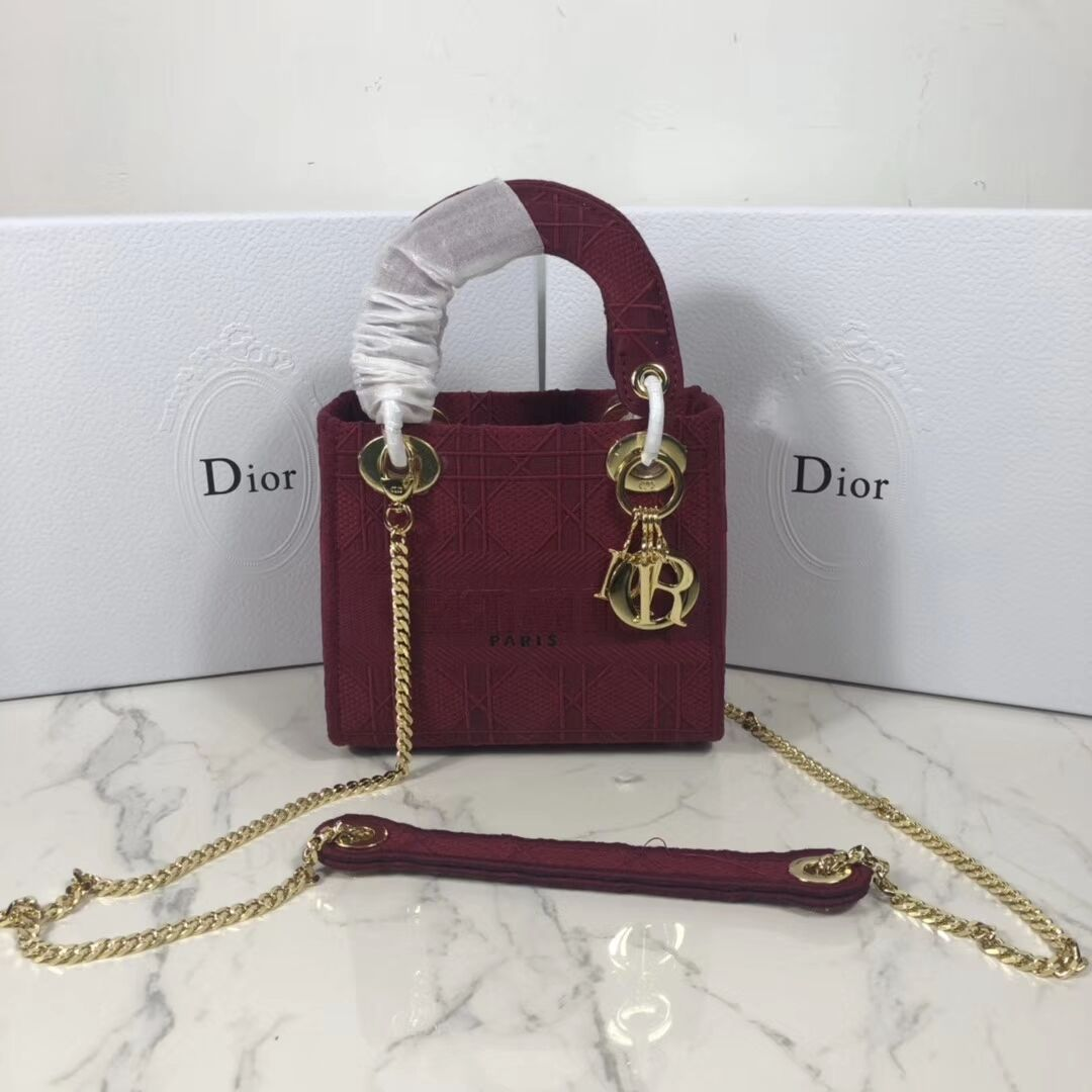 MINI LADY DIOR TOTE BAG IN EMBROIDERED CANVAS C4531 Bordeaux