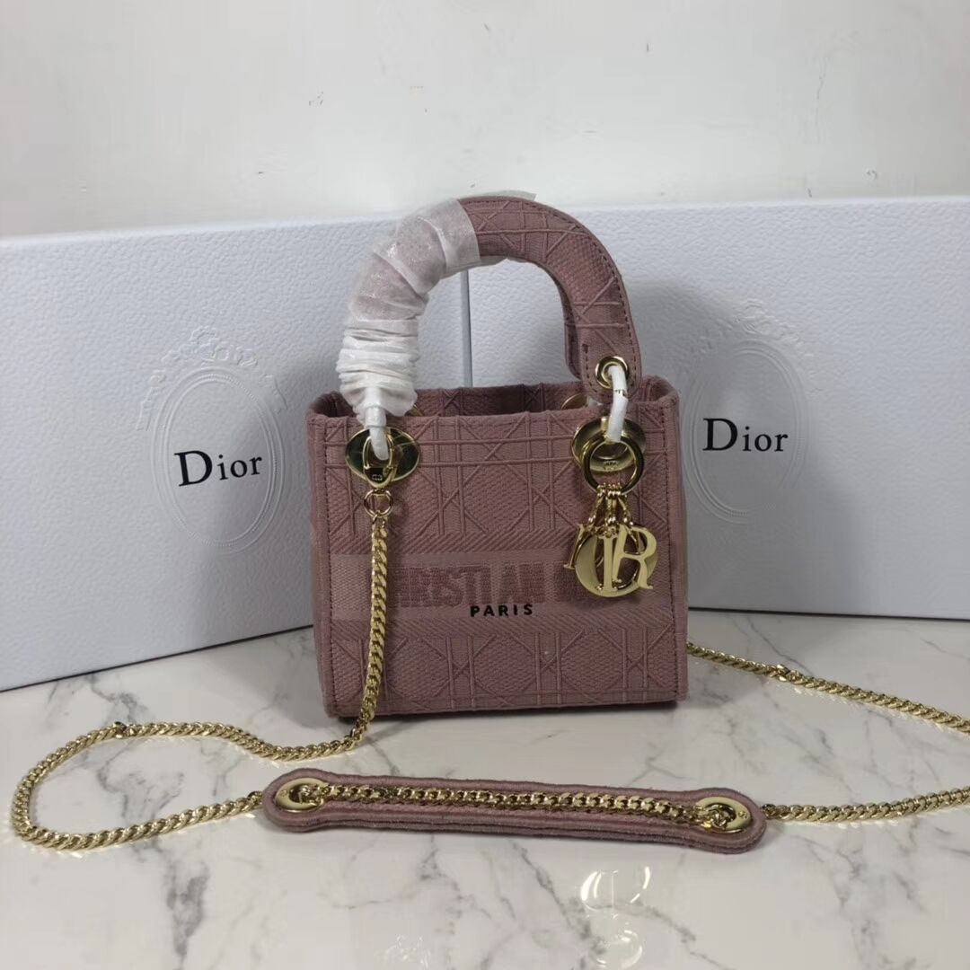 MINI LADY DIOR TOTE BAG IN EMBROIDERED CANVAS C4531 pink