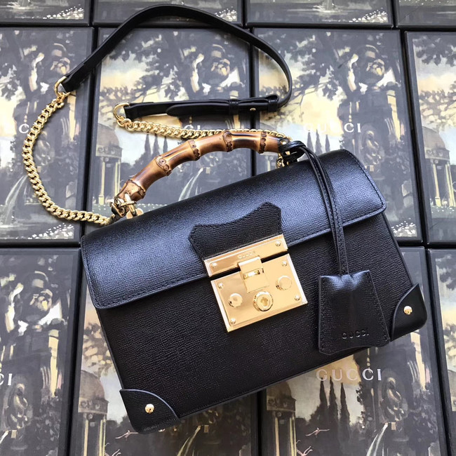 Gucci Padlock GG small bamboo shoulder Backpack 603221 black