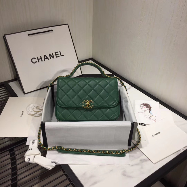 Chanel flap bag leather & Gold Metal AS0970 green