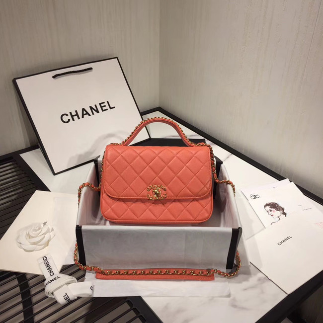 Chanel flap bag leather & Gold Metal AS0970 light pink