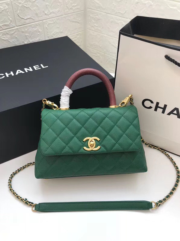 Chanel Small Flap Bag with Top Handle A92990 green