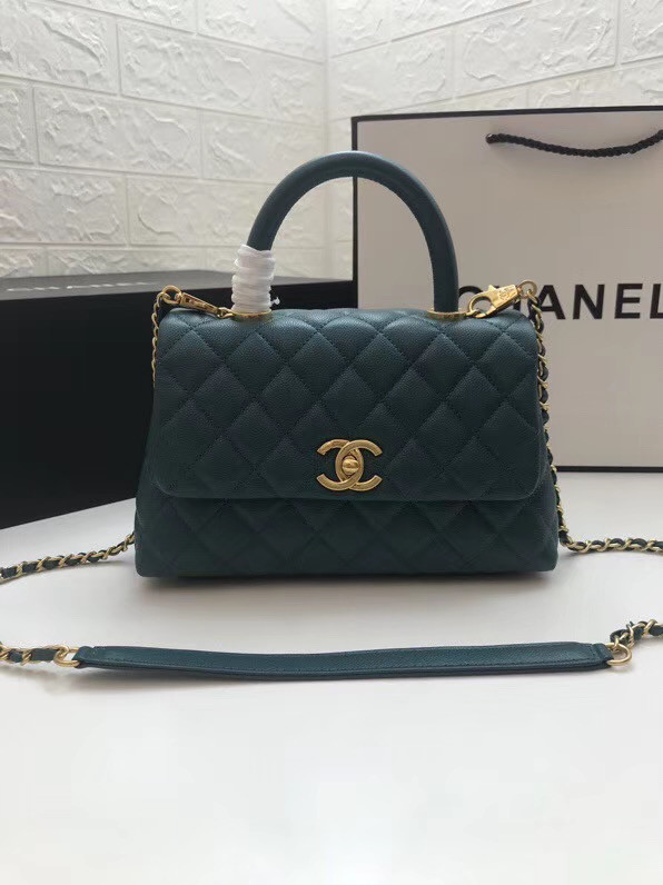 Chanel Small Flap Bag with Top Handle A92990 blue