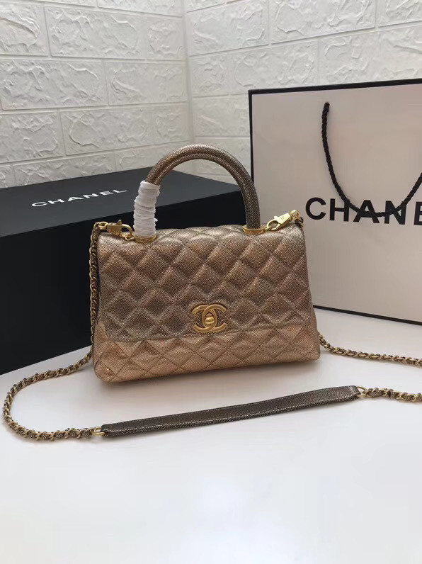 Chanel Small Flap Bag with Top Handle A92990 gold