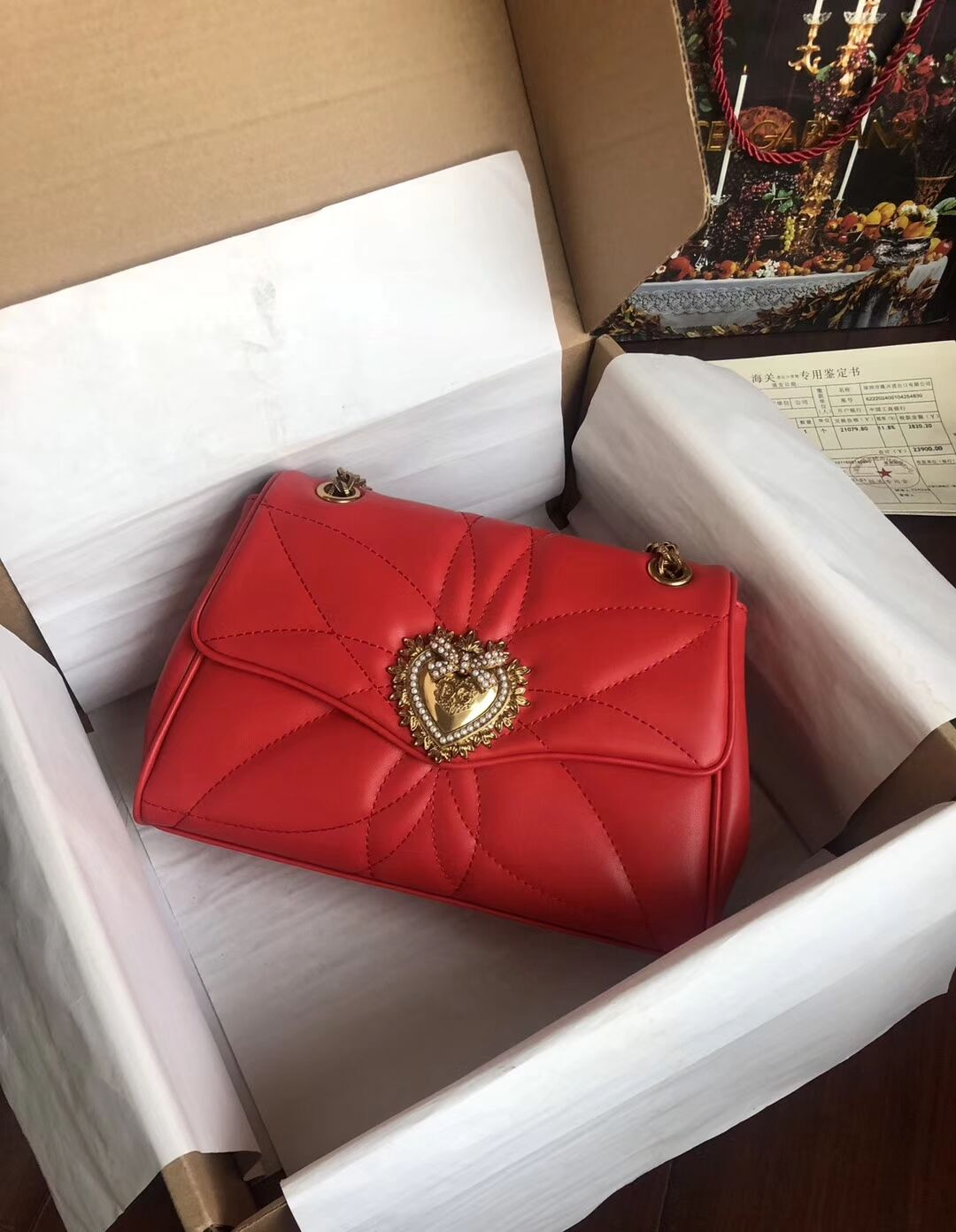 Dolce & Gabbana Origianl Leather Bag 4919 red