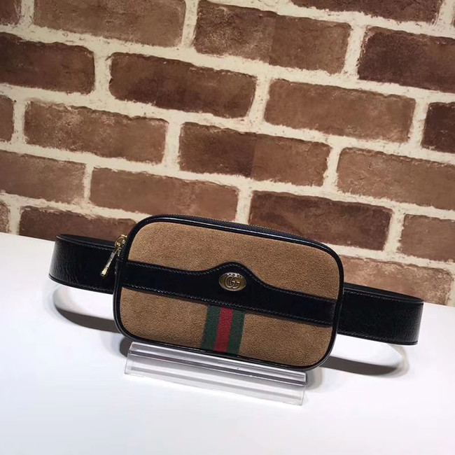 Gucci Nubuck leather belt bag 519308 brown&black