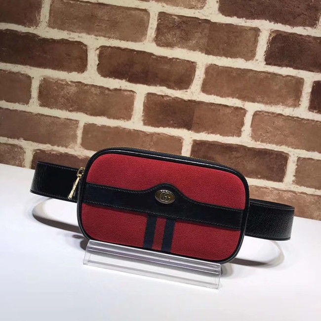 Gucci Nubuck leather belt bag 519308 red&black