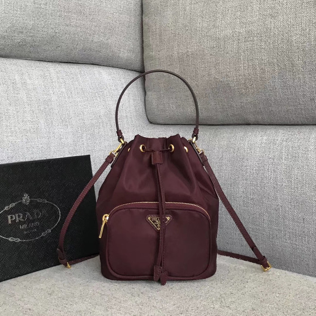 Prada Re-Edition nylon Tote bag 81166 Burgundy